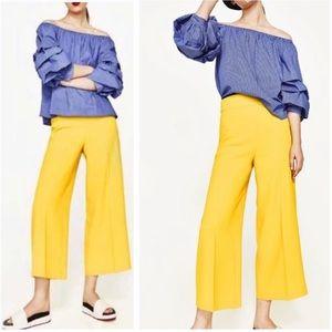 NWT Zara High Waisted Yellow Culottes